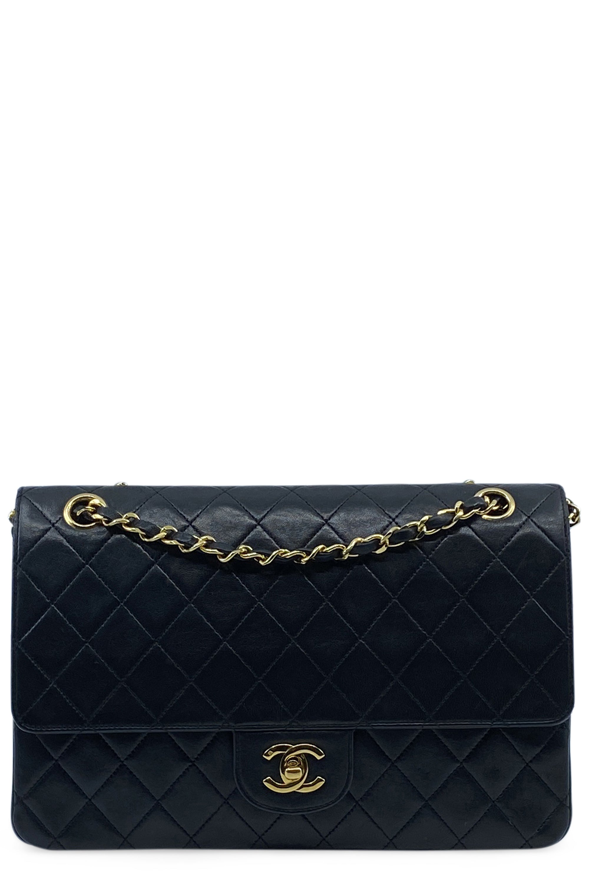 CHANEL Vintage Coco Black Medium Double Flap Bag Frontansicht