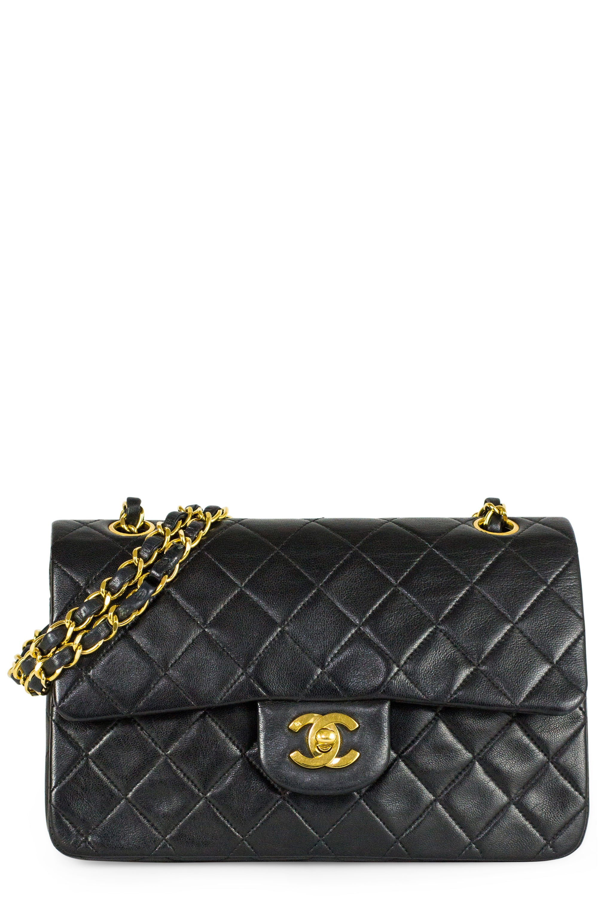 Chanel Double Flap Bag 2.55 Black Gold Hardware Frontansicht