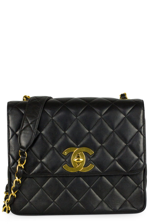 Chanel Flap Bag Vintage CC Crossbody Schwarz Gold Hardware Frontansicht