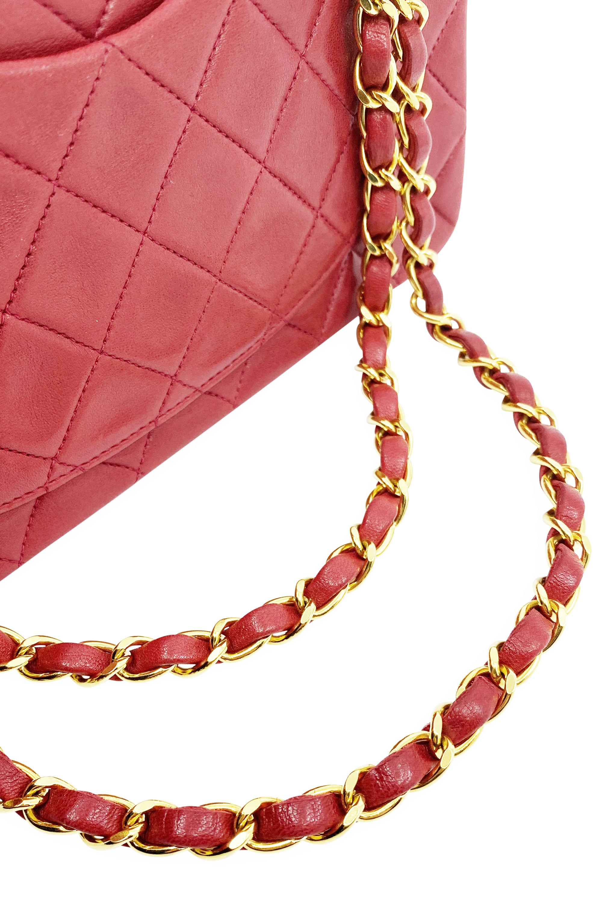 CHANEL Vintage Red Double Flap Bag Small