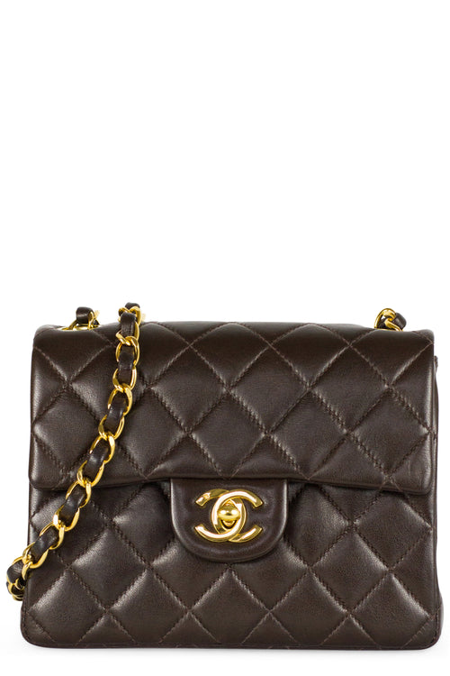 Chanel Mini Flap Bag Dark Brown Gold Chain Frontansicht