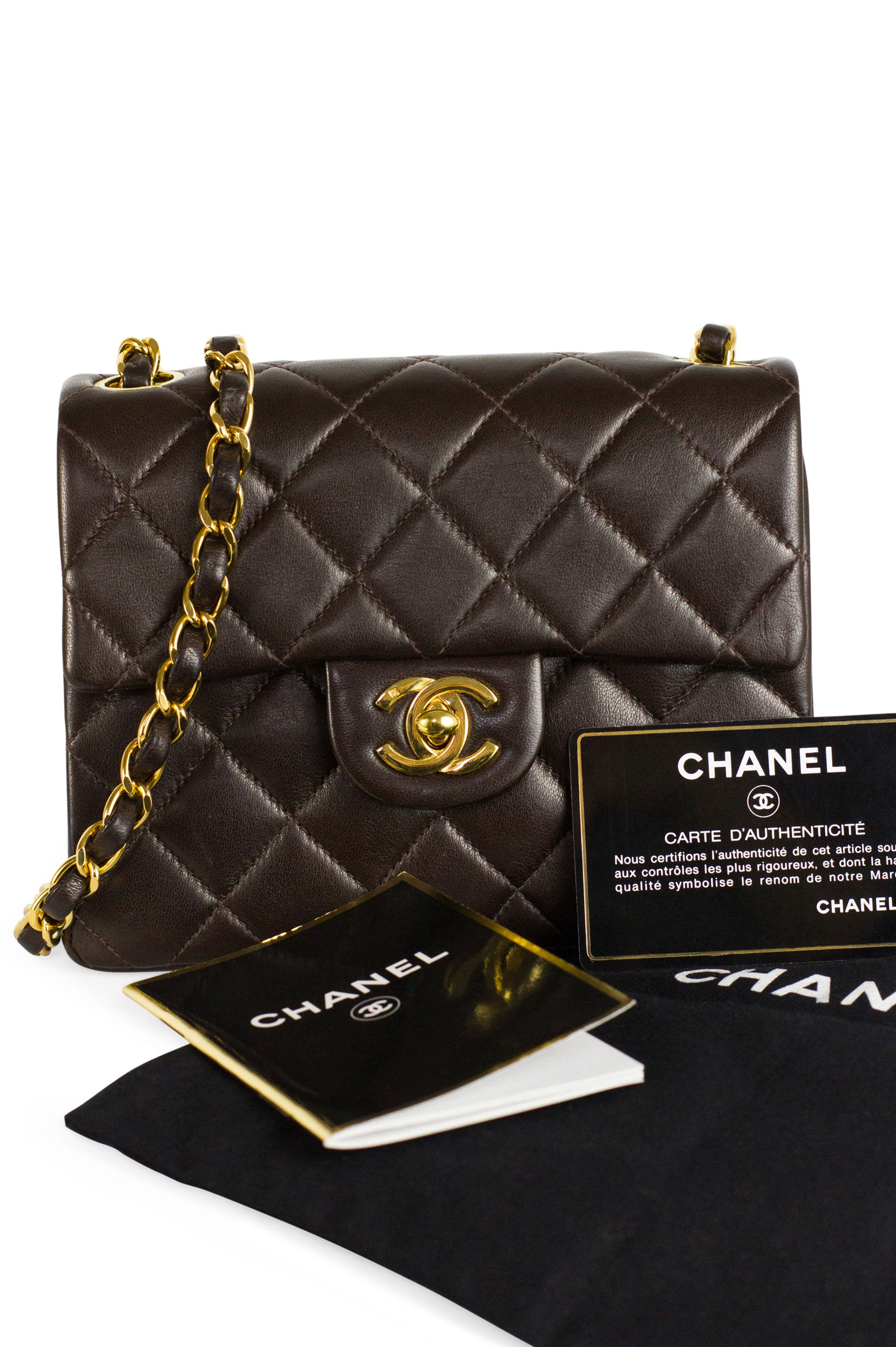 Chanel Mini Flap Bag Chocolat Brown 24k Gold Chain Frontansicht Dustbag Bucklet Karte