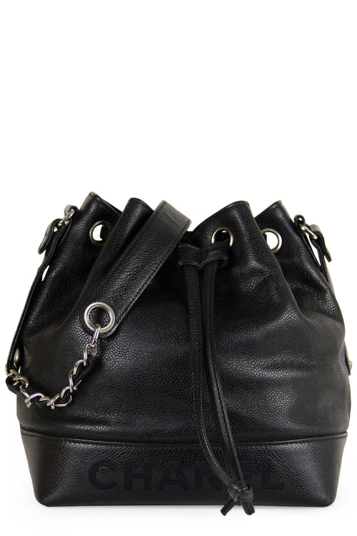 Chanel Vintage Bucket Bag Black Caviar leather Silver Hardware Frontsicht