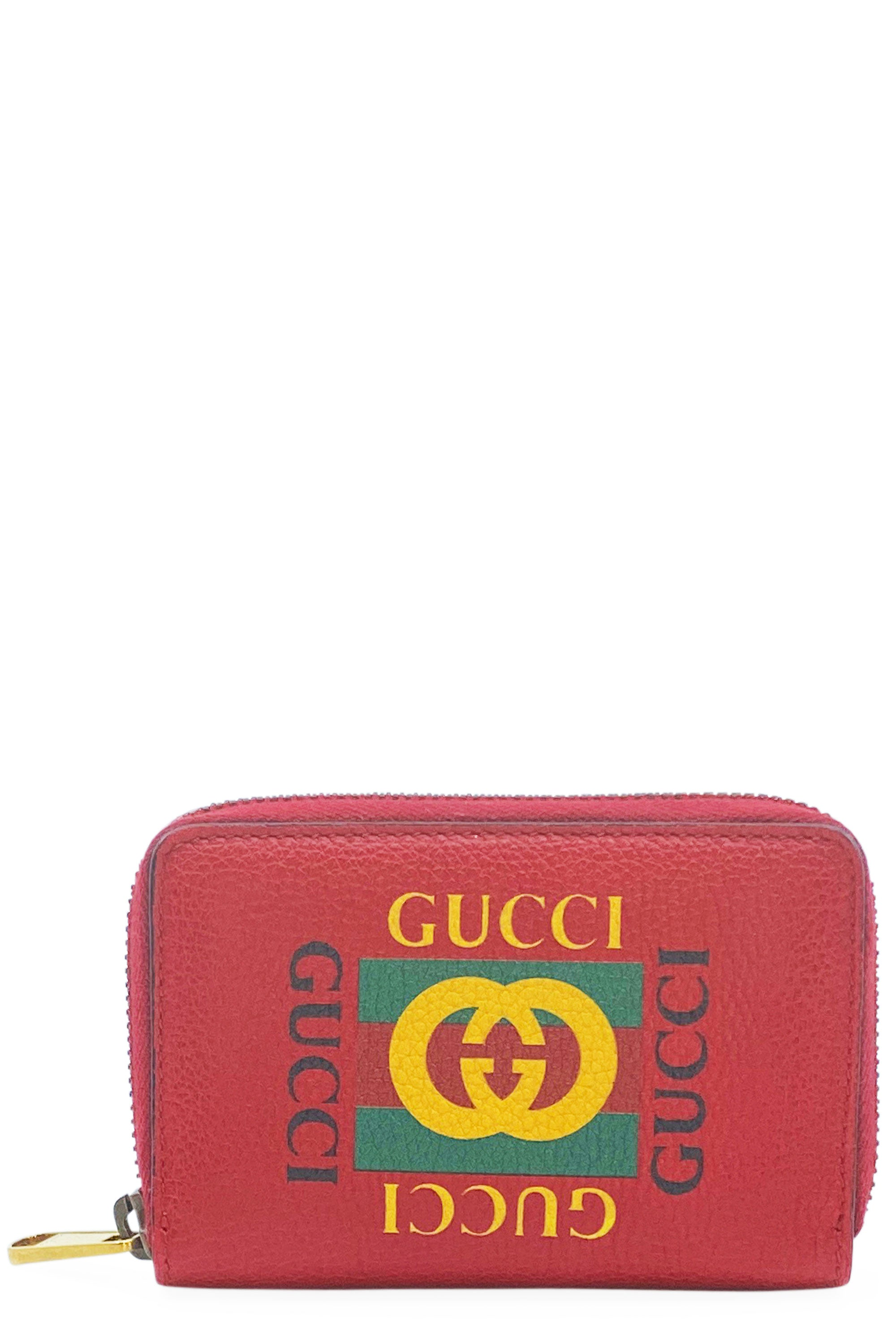 GUCCI Printed Leather Wallet Red Frontansicht