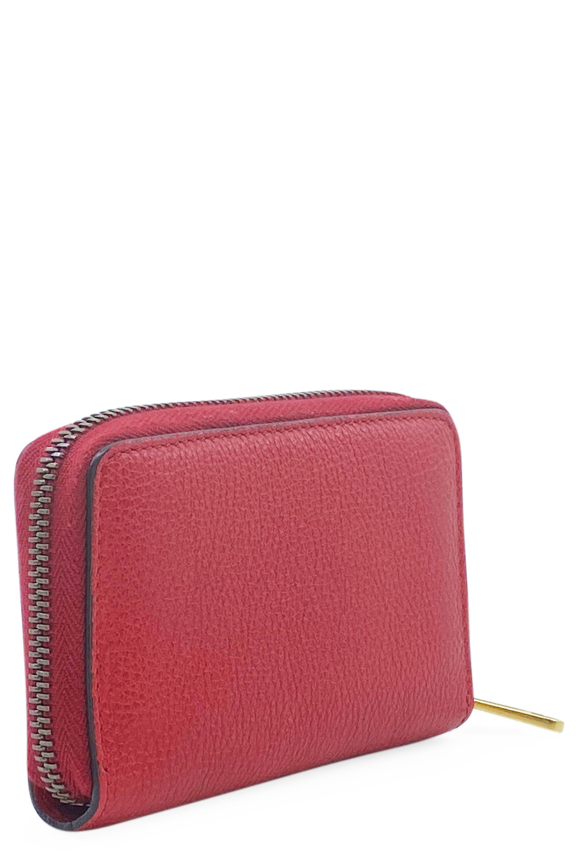 GUCCI Printed Leather Wallet Red