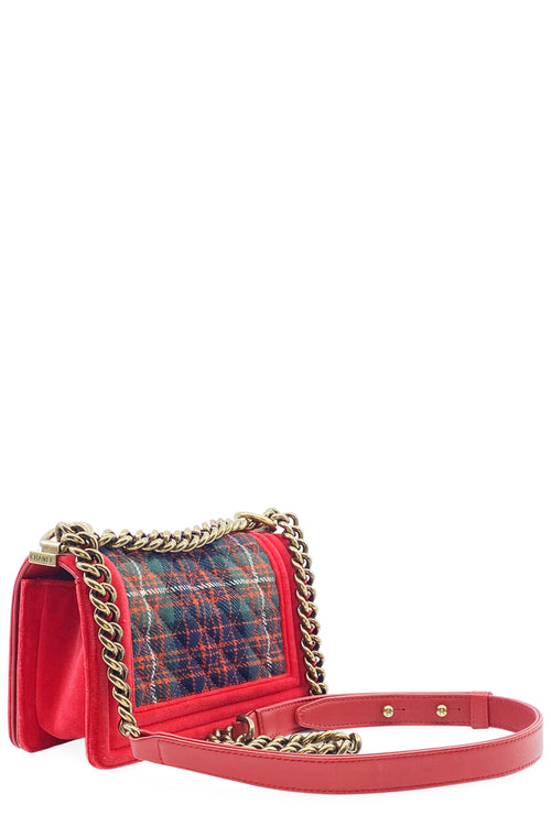 CHANEL Boy Velvet Plaid Tweed Paris-Edinburgh Small Boy Bag