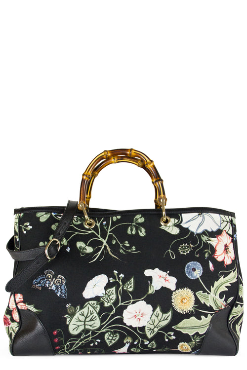 Gucci Kris Knight Bamboo Floral Tote Frontansicht Black