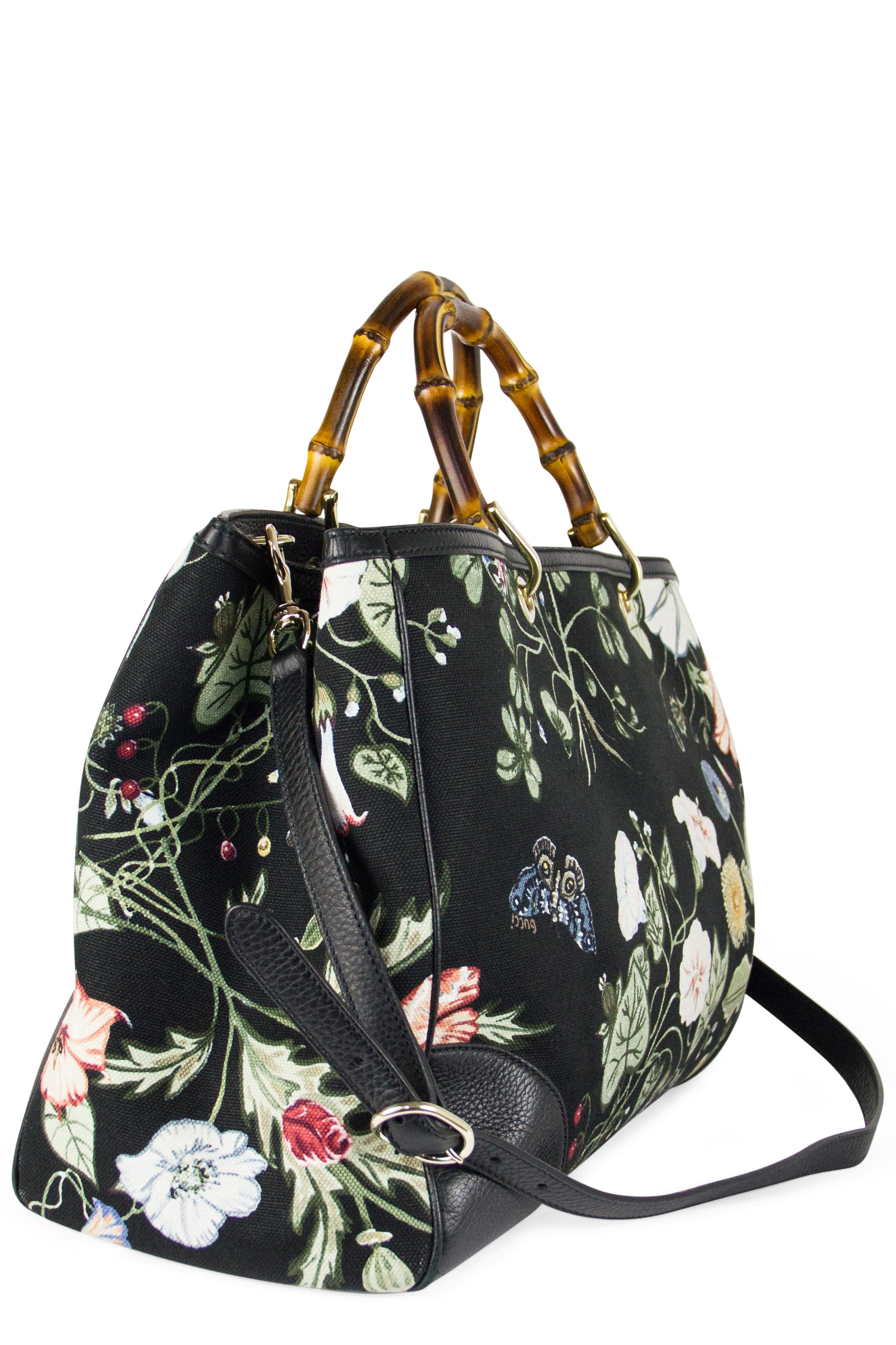 GUCCI Bamboo Floral Tote