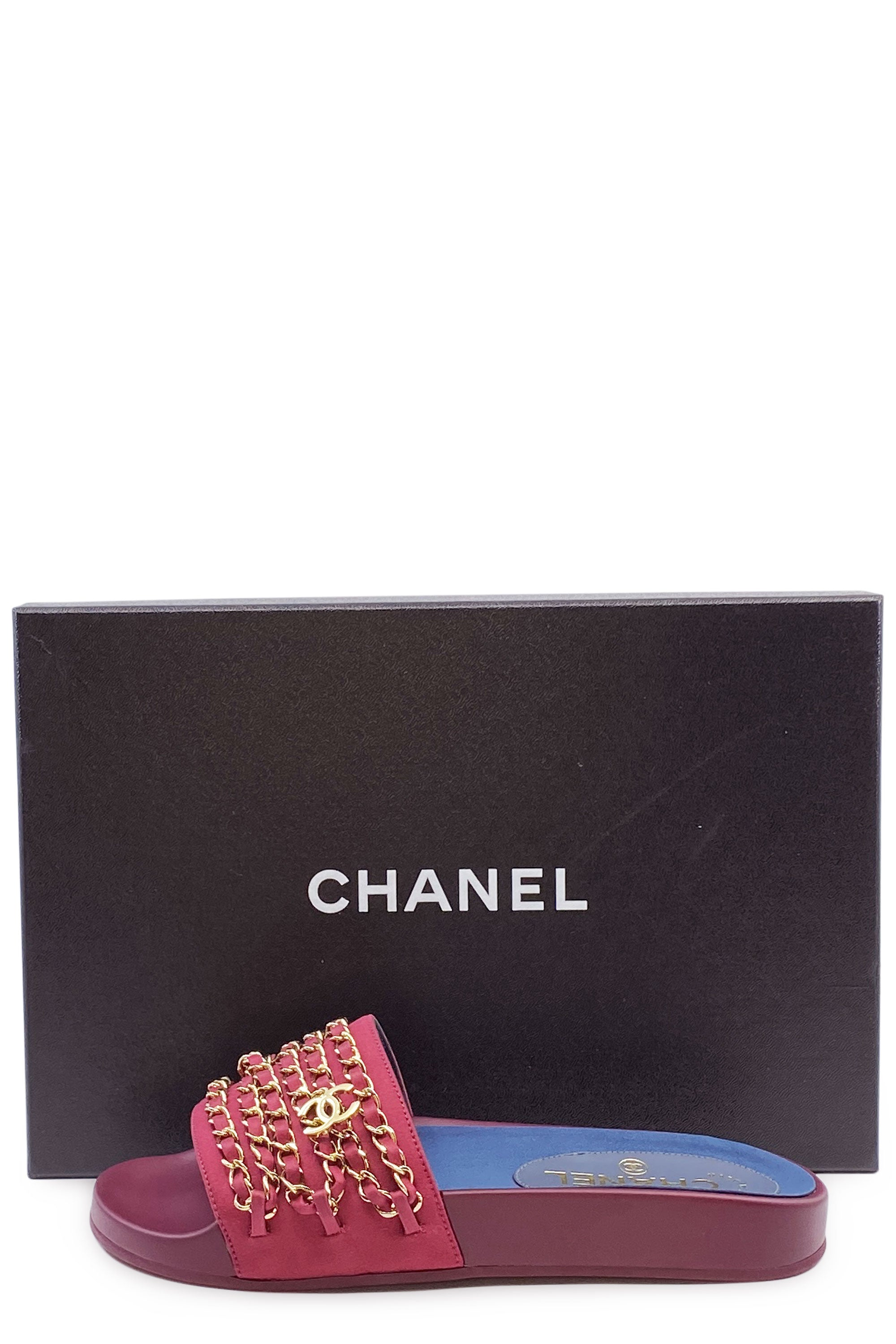 CHANEL Gold Chain Sandal Slide