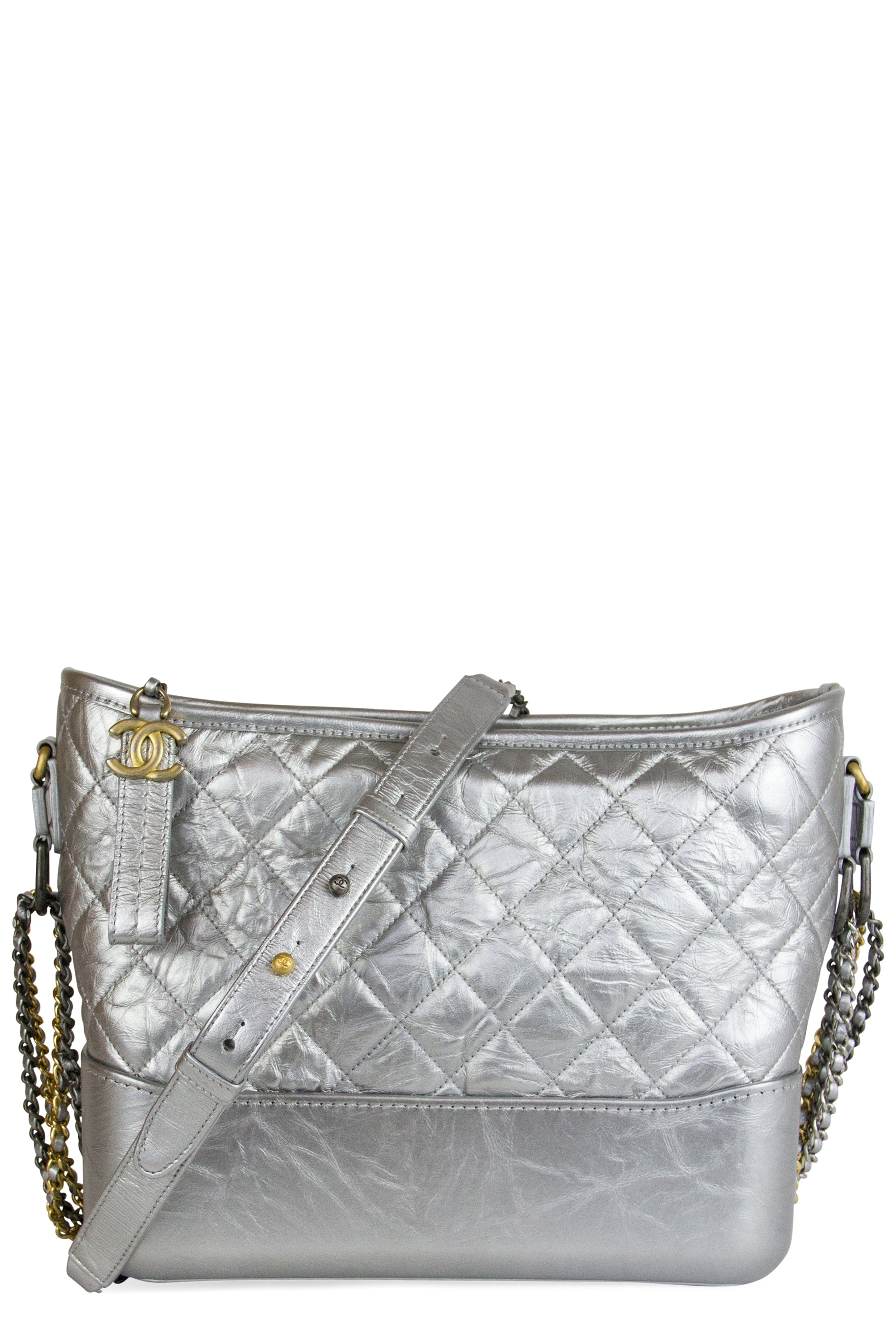 Chanel Hobo Gabrielle Bag Medium Frontalansicht Silber