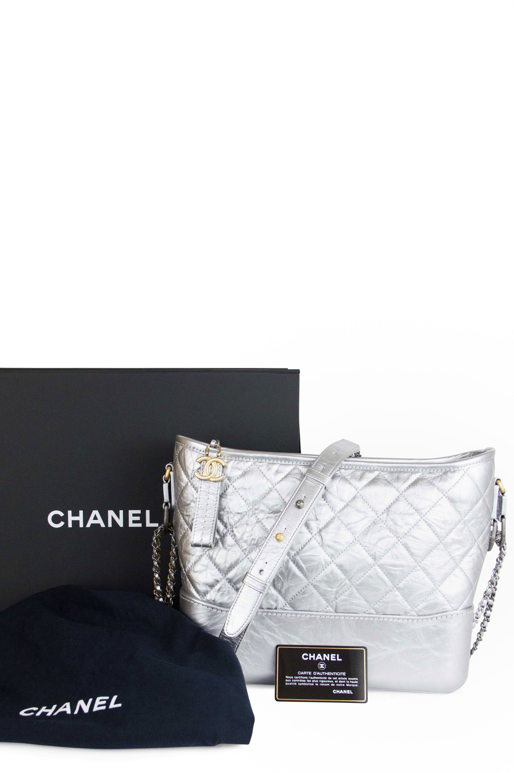 Chanel Hobo Gabrielle Bag Medium Frontalansicht Silber Full set
