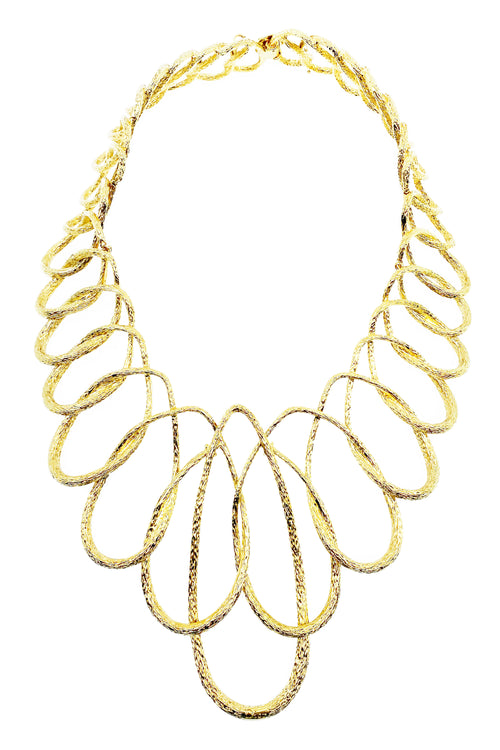 CHRISTIAN DIOR Gold Textured Freeflowing Necklace