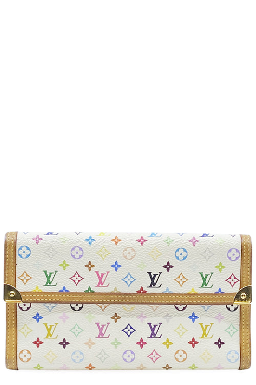 LOUIS VUITTON Portemonnaie International Multicolor Weiss Canvas