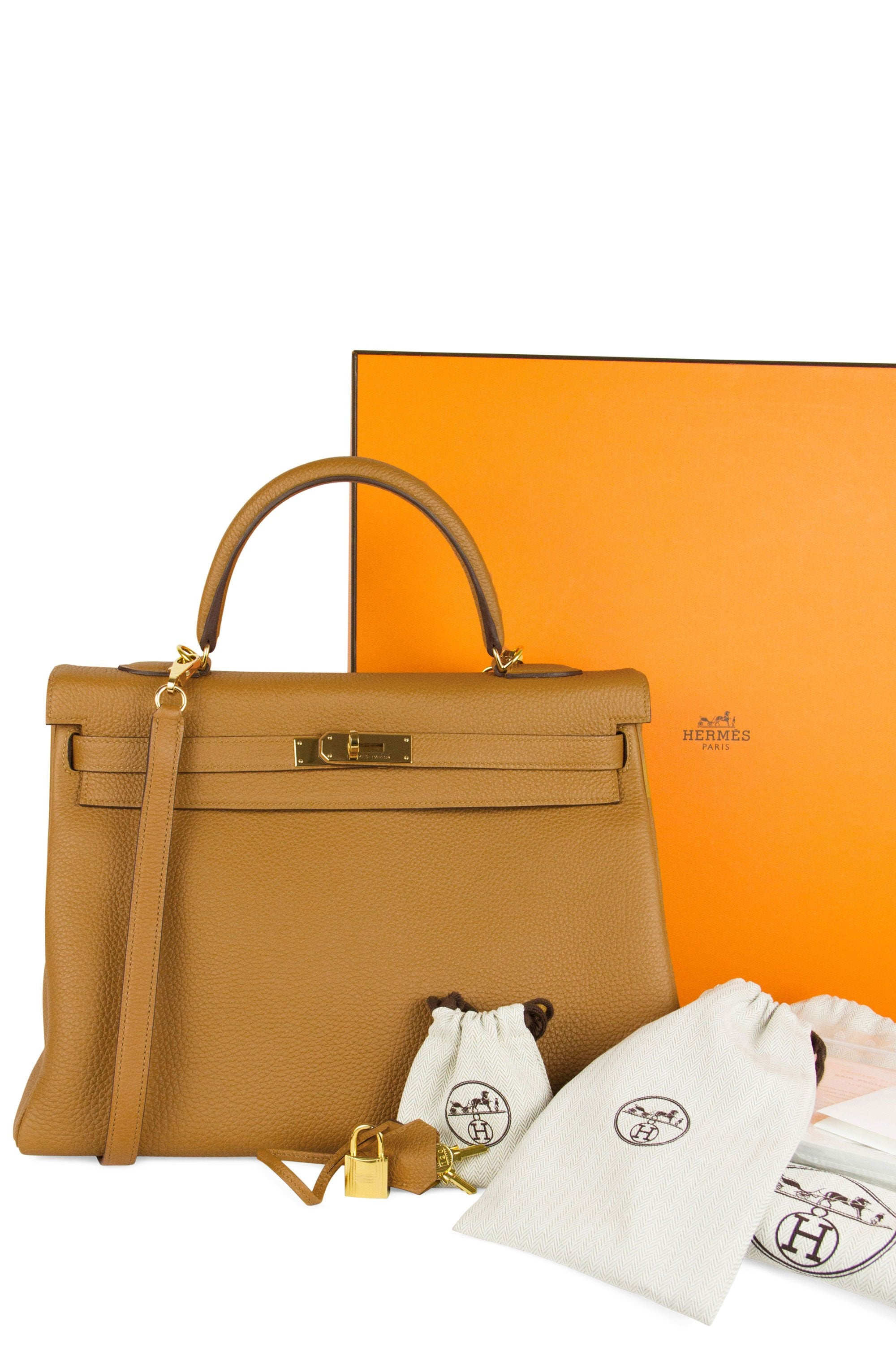 Hermès Kelly 35 Bag Caramel Togo Leather Full Set