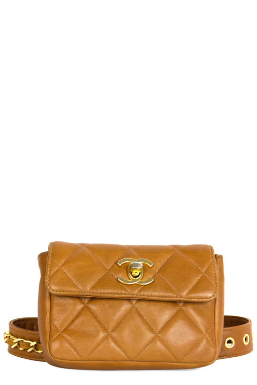 Vintage Chanel Belt Bag Cognac Frontalansicht Gold Hardware