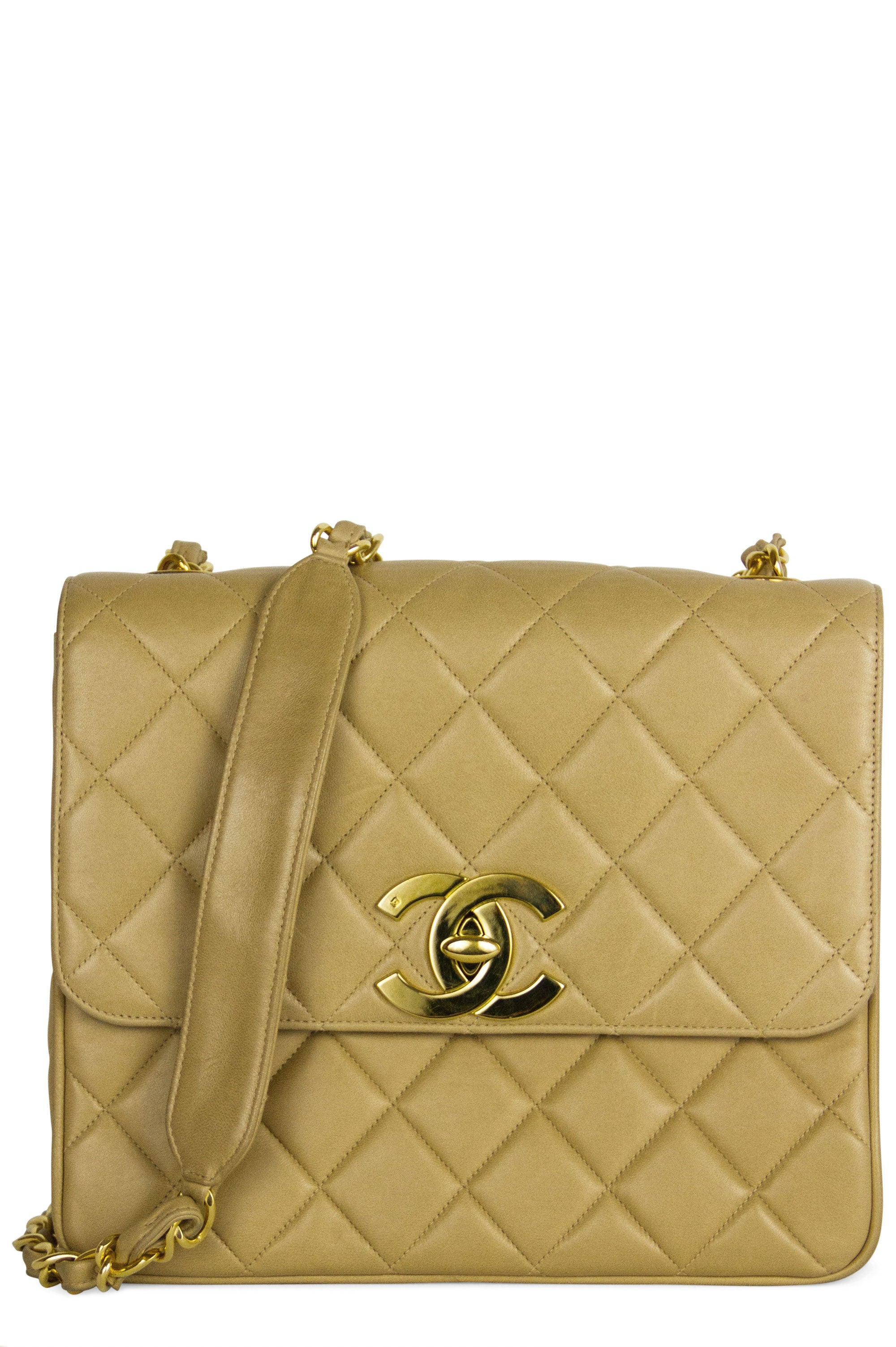 Chanel Flap Bag Vintage CC Crossbody Beige Frontalansicht Gold Hardware