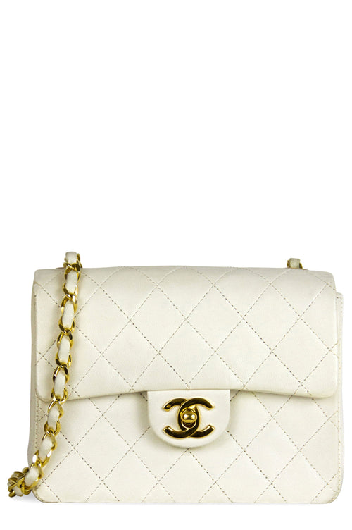 Chanel Mini Flap Bag Off White Frontalansicht Gold Hardware