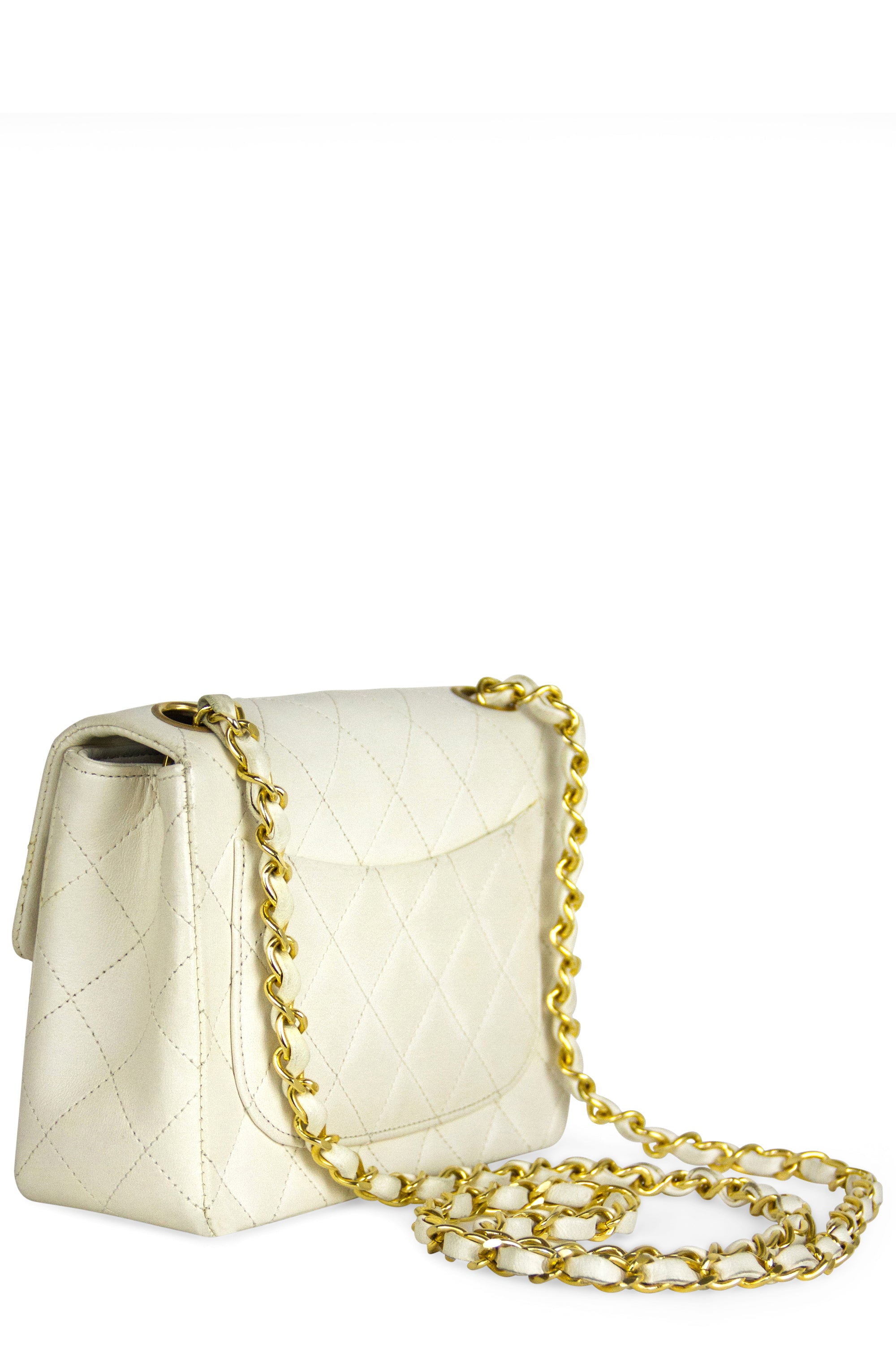 CHANEL Mini Flap Bag Off White