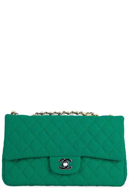 Chanel Flap Bag  Canvas Green Silver Hardware Frontalansicht