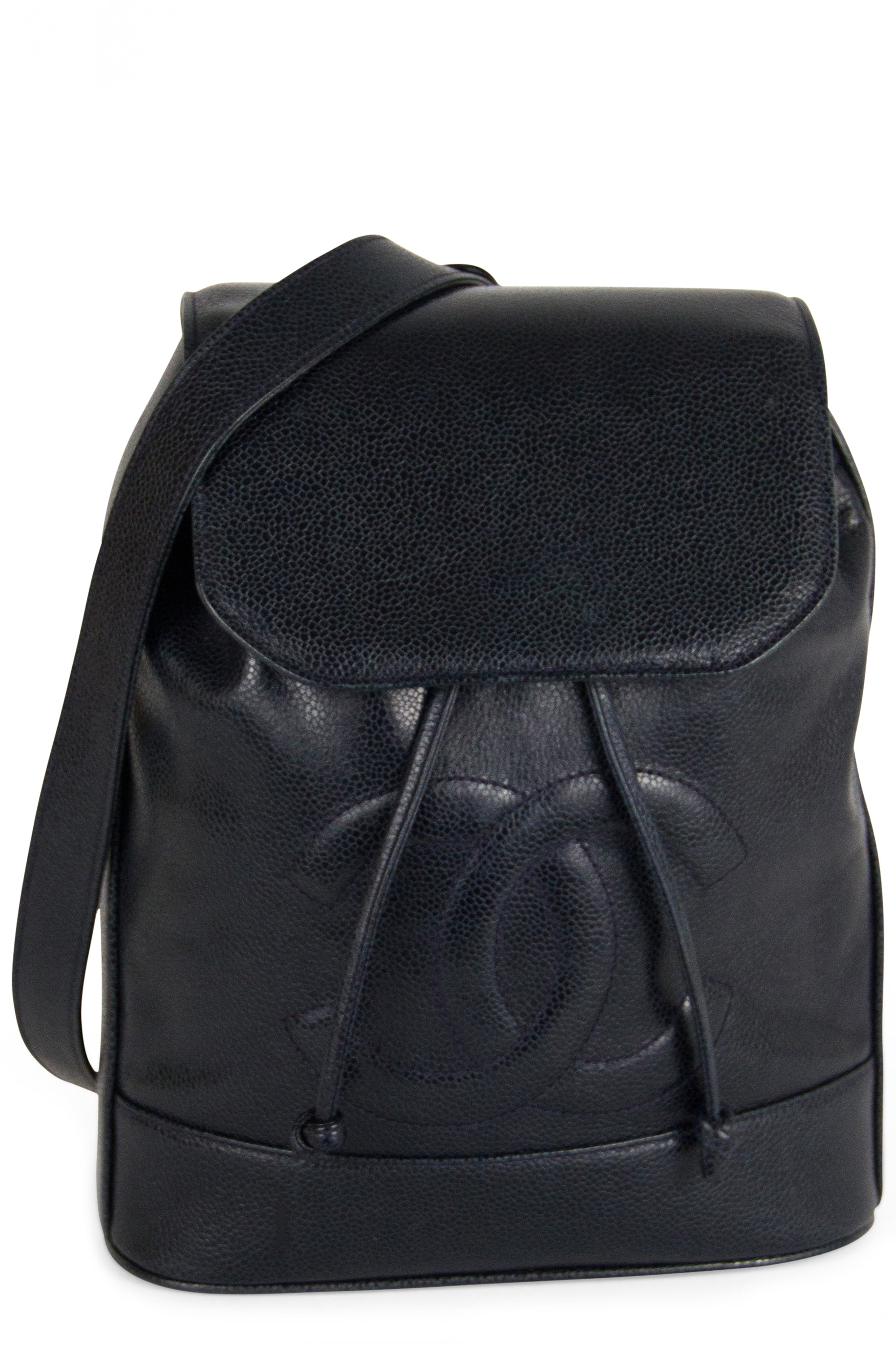 Chanel Vintage  Backpack One Strap Caviar Leather Frontalansicht Navy Blue