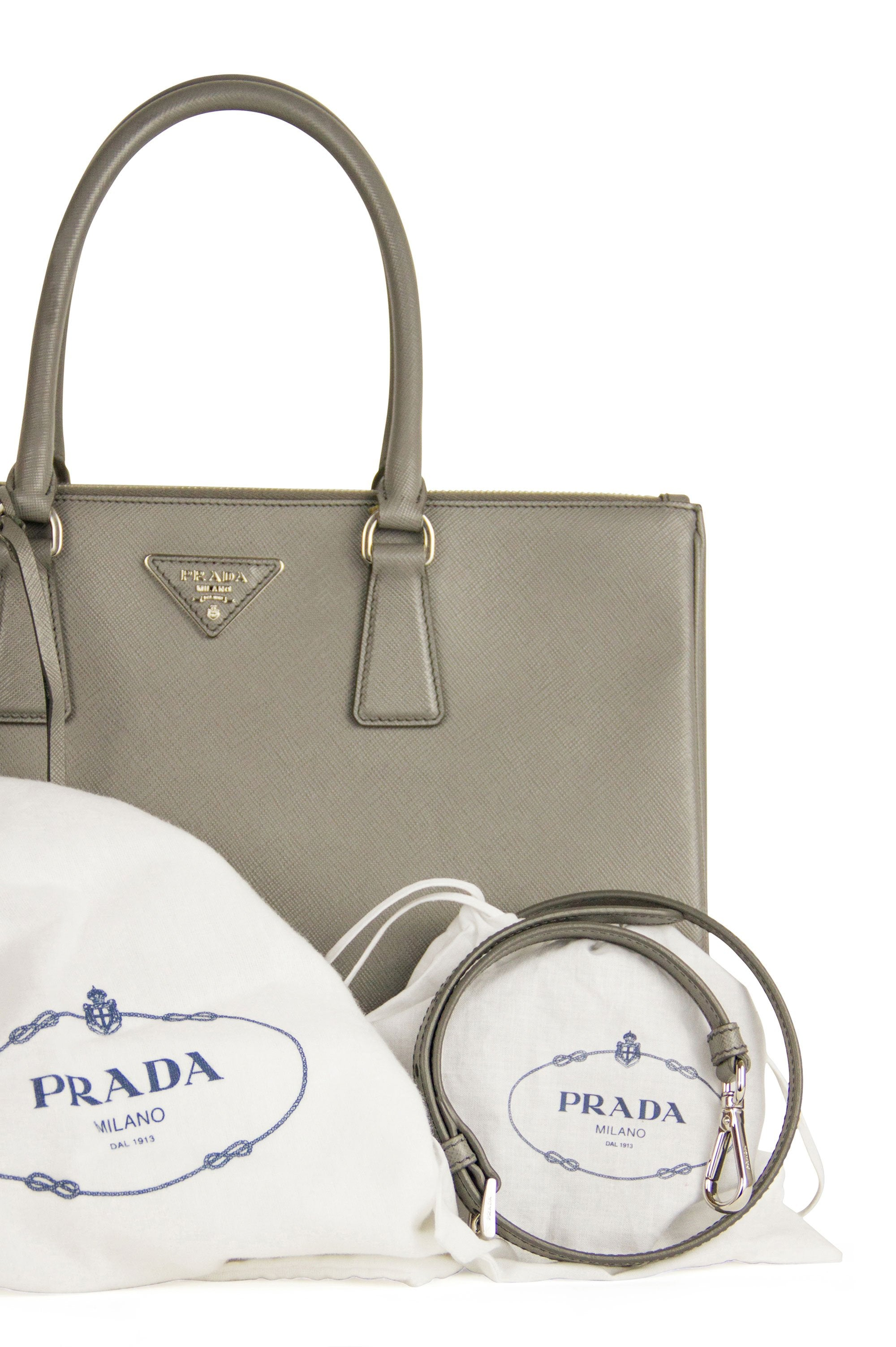 Prada Tote Galleria Saffiano Leather Full Set Grau