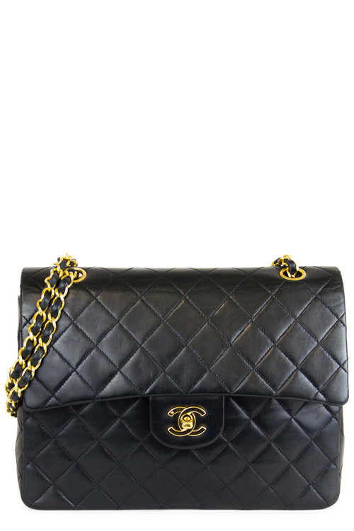 Chanel Vintage Double Flap Bag Medium Square Schwarz Frontalansicht Gold Hardware