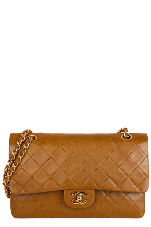 Chanel Vintage Double Flap Bag Medium Frontalansicht Caramel Gold Hardware