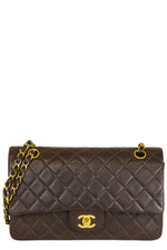 Chanel Vintage Double Flap Bag Medium Chocolate Frontalansicht Gold Chain