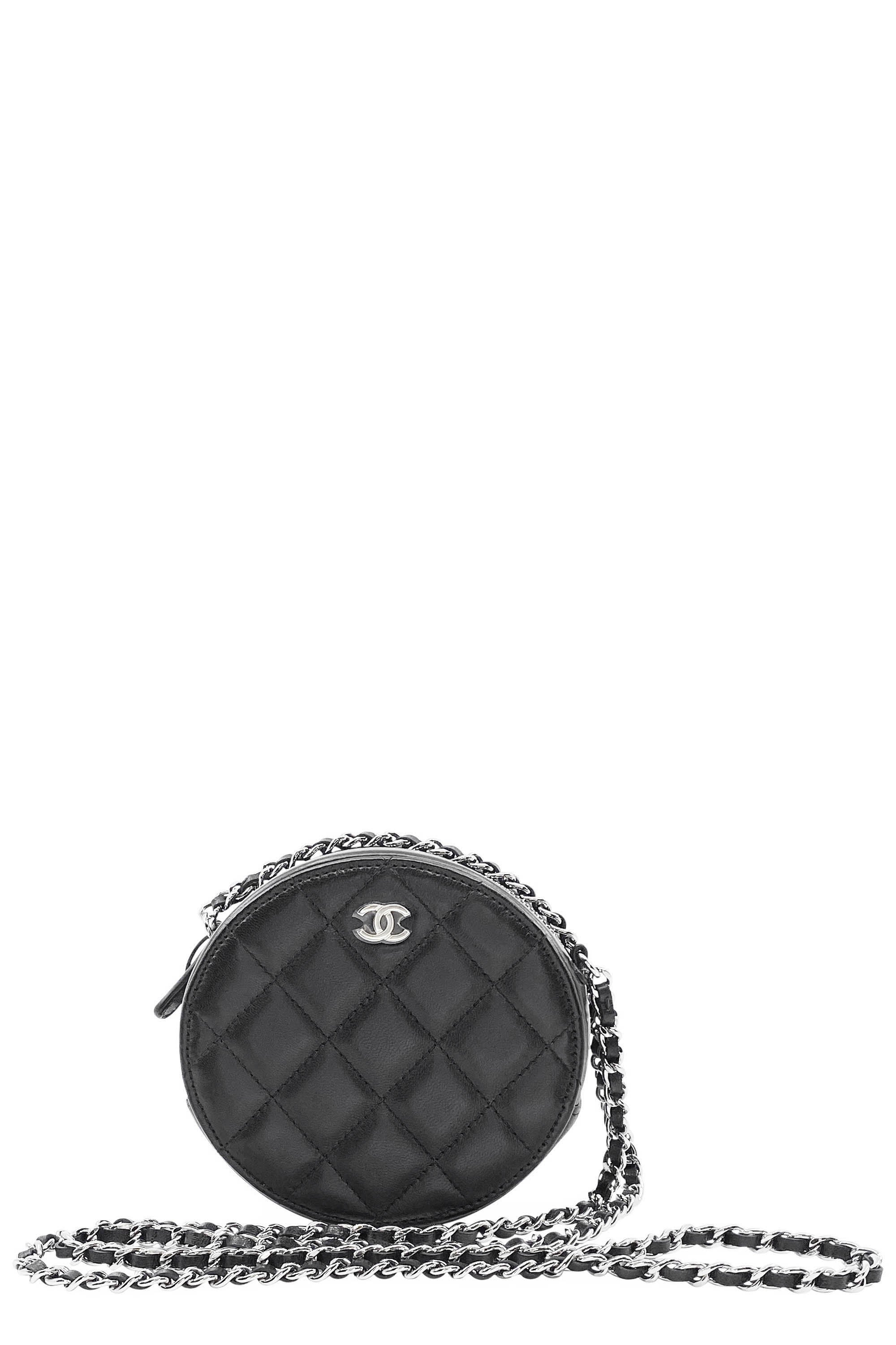 CHANEL Round Crossbody Bag Black Frontansicht