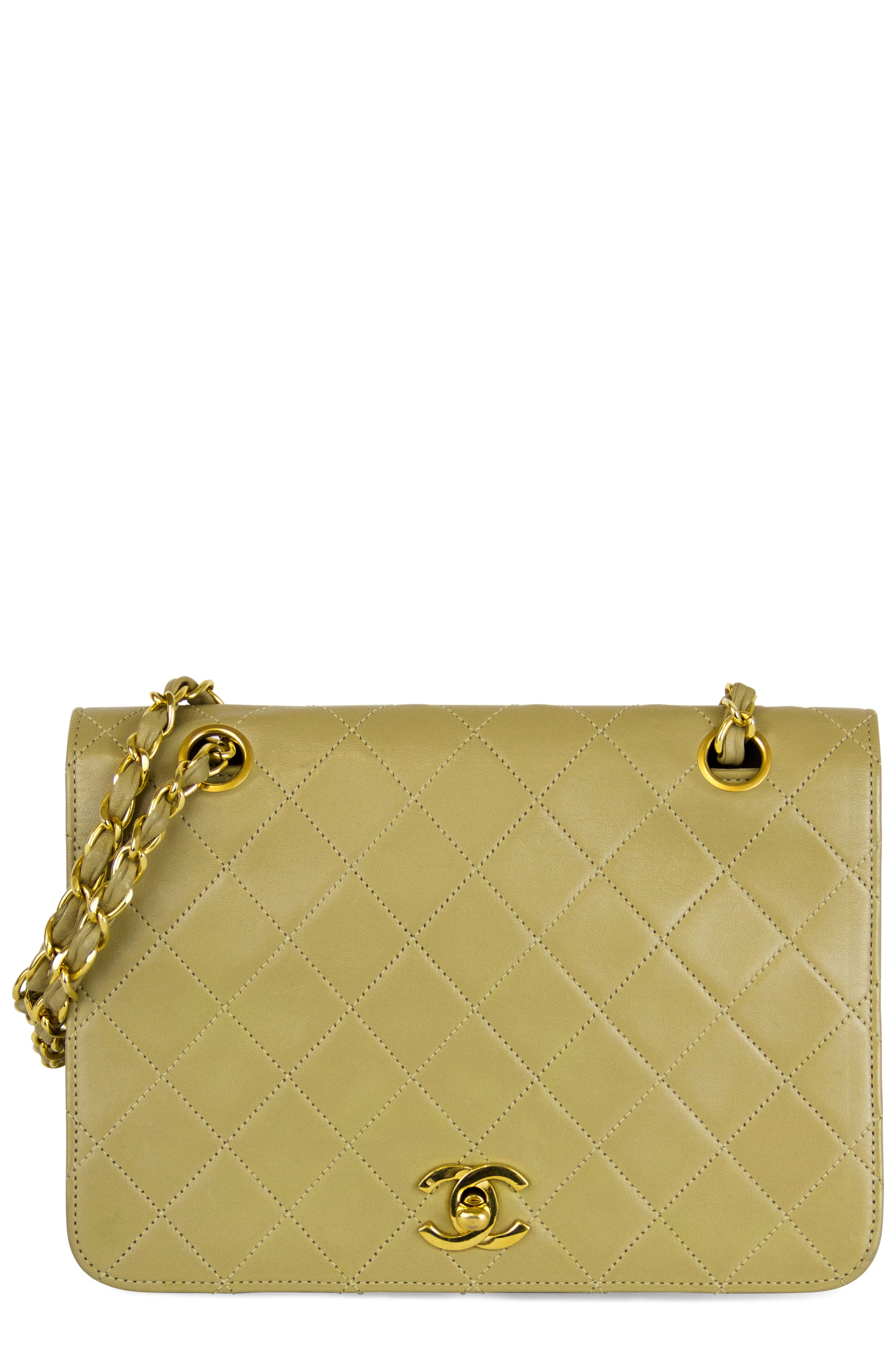 Chanel Vintage Flap Bag Frontalansicht Beige Gold Hardware