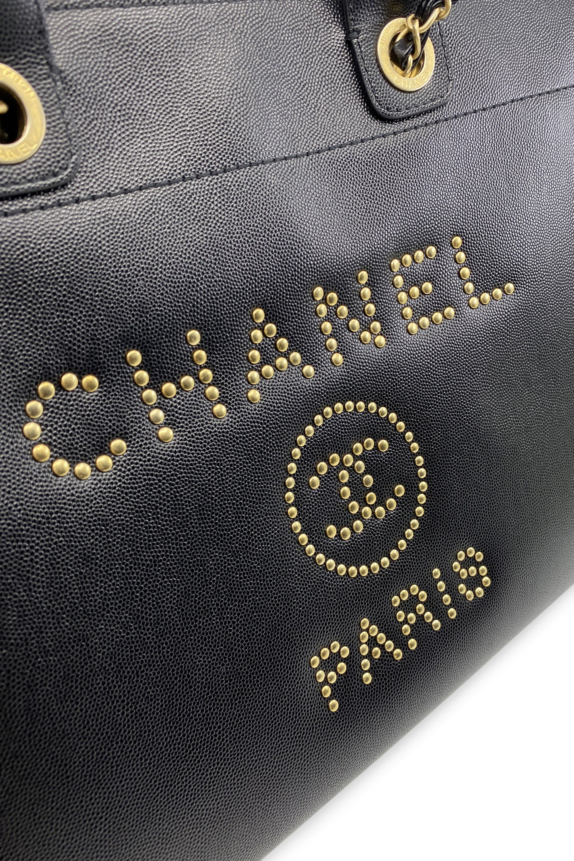 CHANEL Large Deauville Shopping Bag Black with Studs