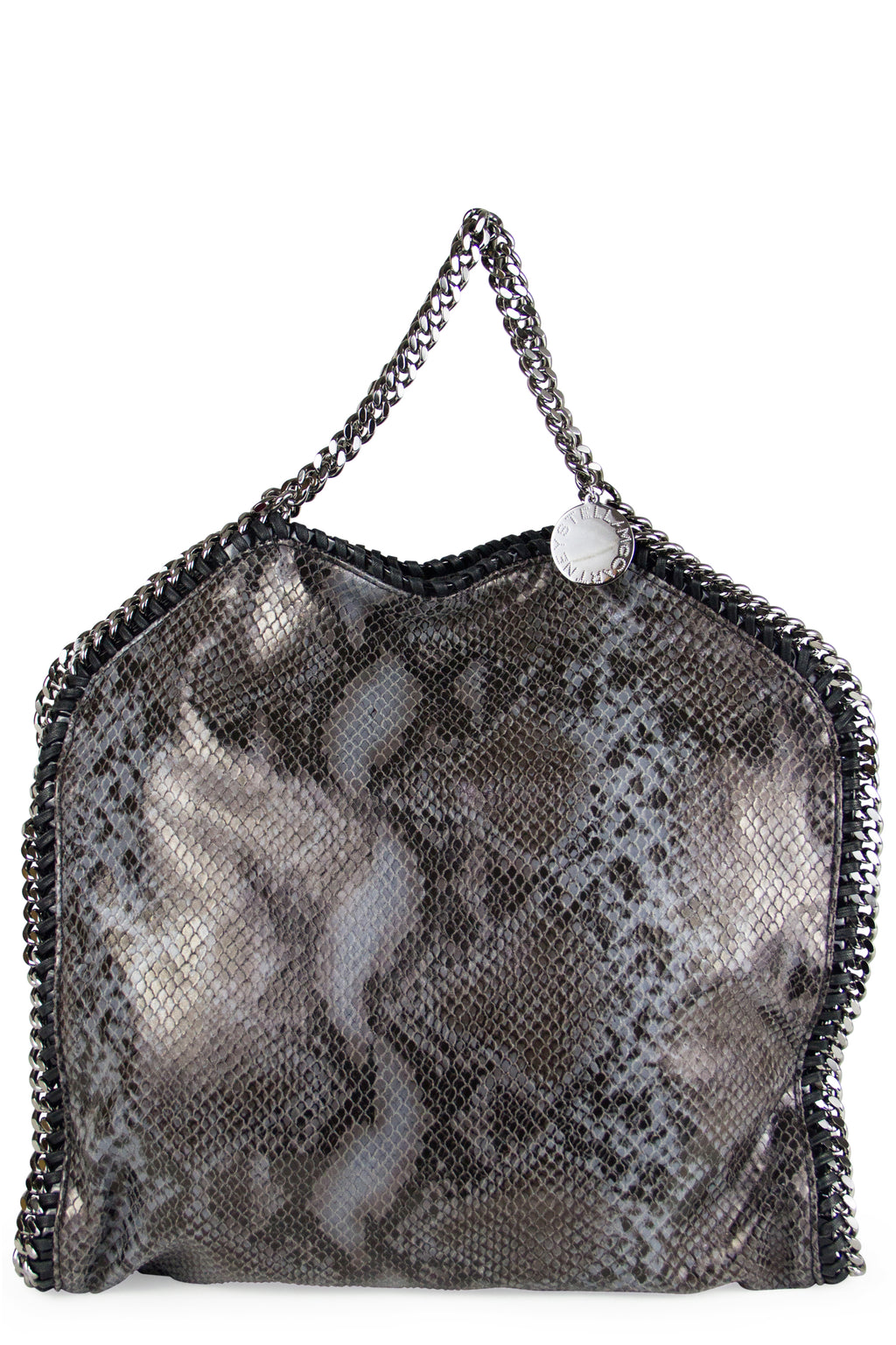 Stella McCartney Grey Faux Python Falabella Fold Over Tote Bag Frontalansicht