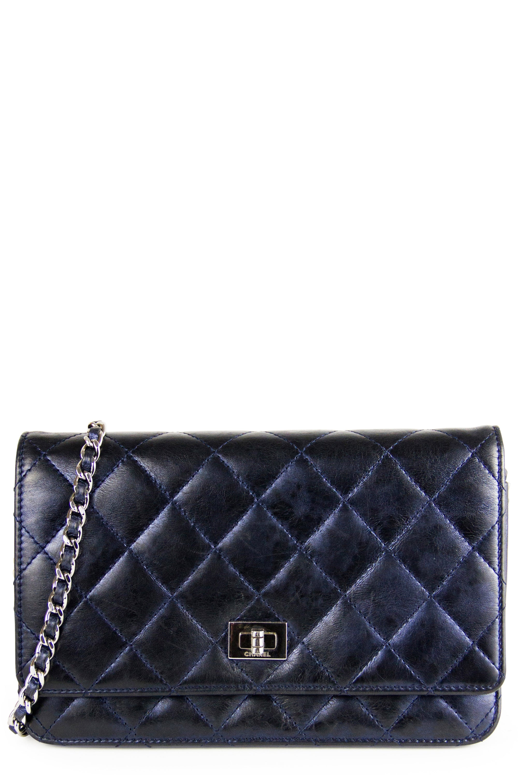 Chanel Wallet On Chain 2.55 Frontansicht Navy Blue