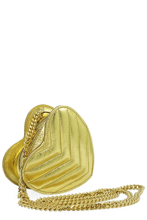 SAINT LAURENT Mini Love Gold Heart Bag