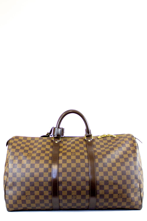 LOUIS VUITTON Damier Ebene Keepal 50 Frontansicht