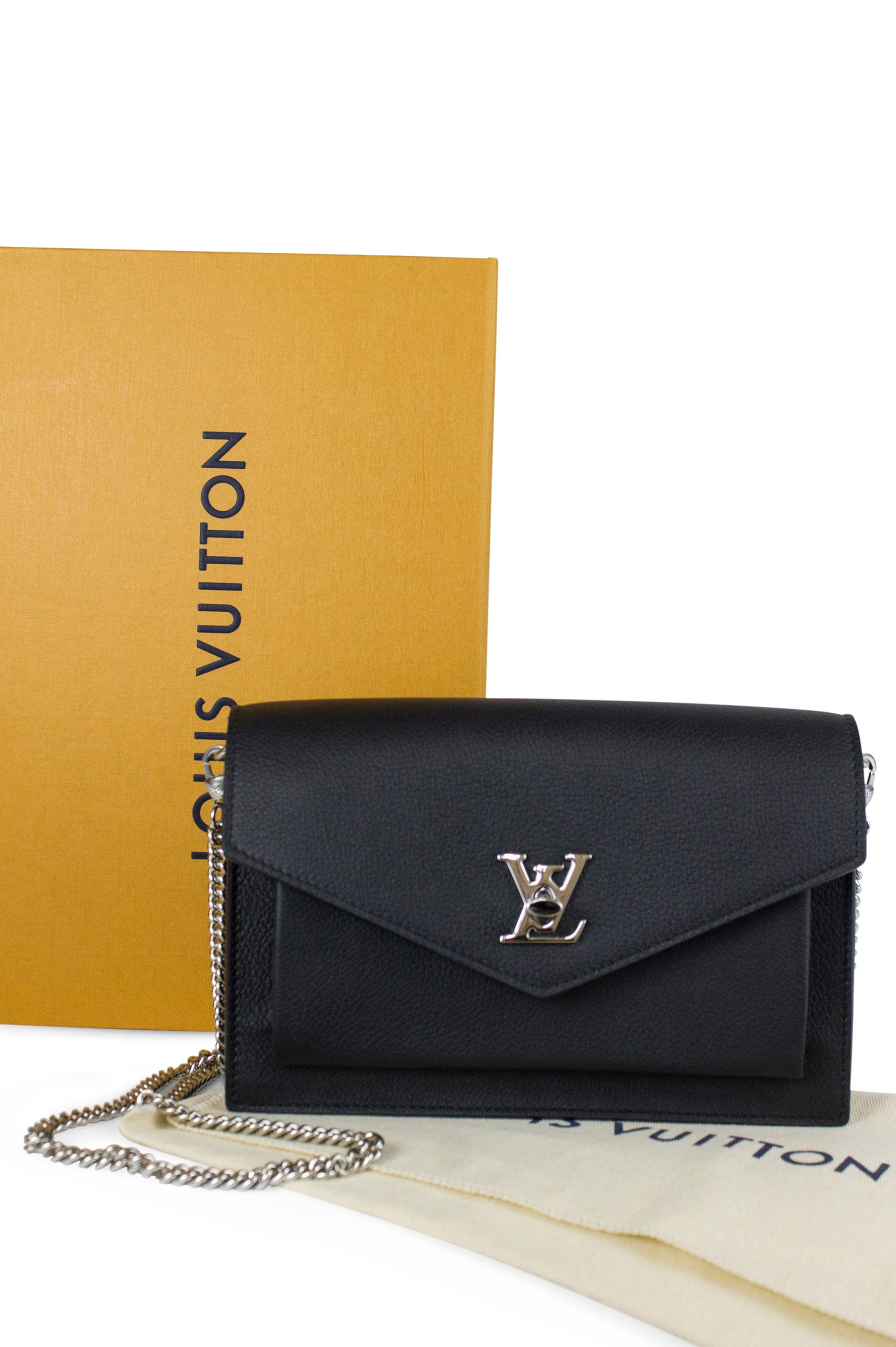 Louis Vuitton Mylookme Chain Pochette Frontansicht Box Dustbag Schwarz Silber Hardware