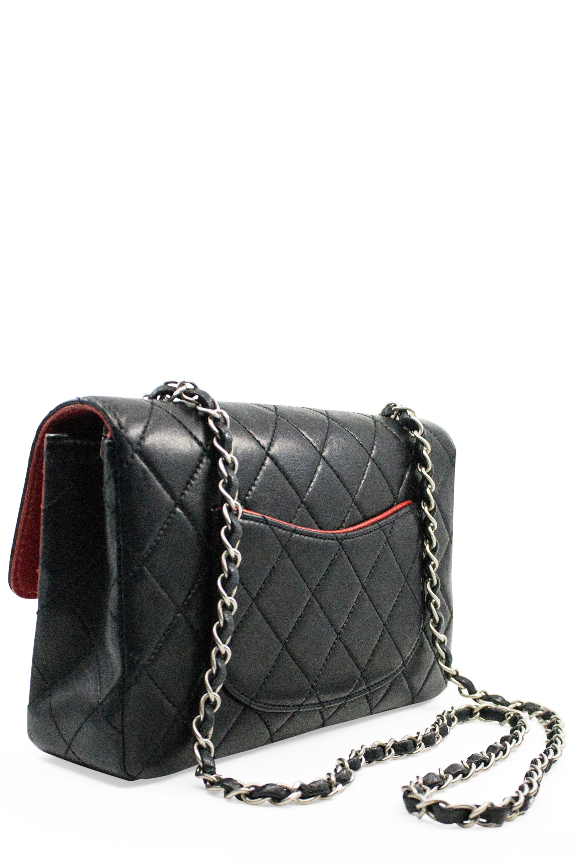 CHANEL Flap Bag Medium Red Black