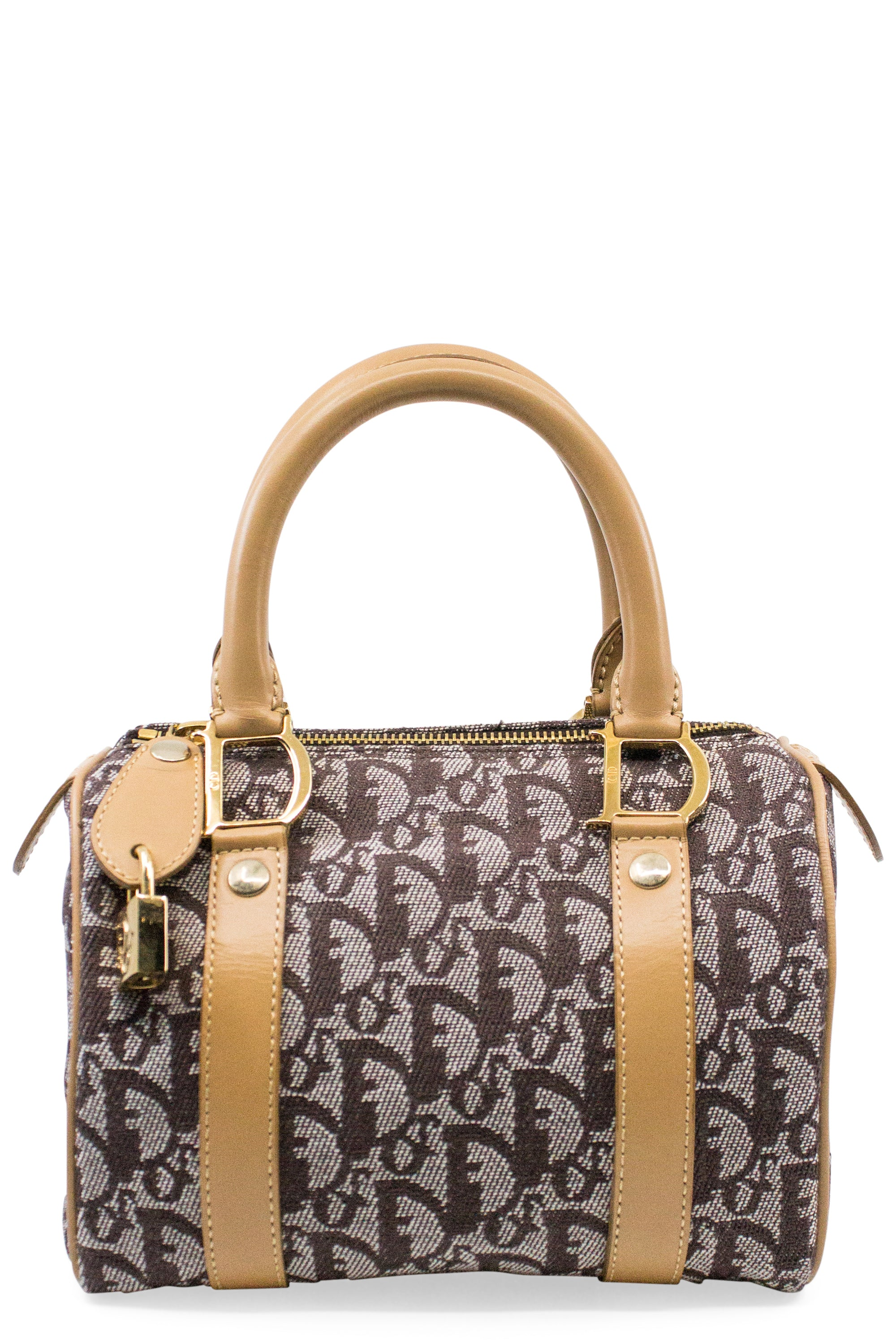 CHRISTIAN DIOR Mini Boston Bag Brown Frontansicht