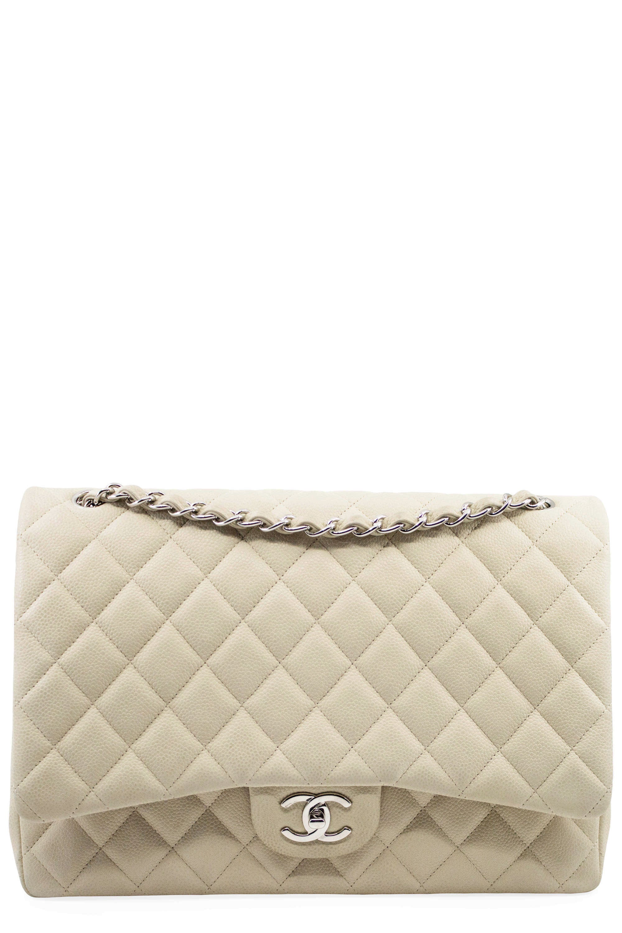 CHANEL Maxi Jumbo Beige Caviar & Silver Frontansicht