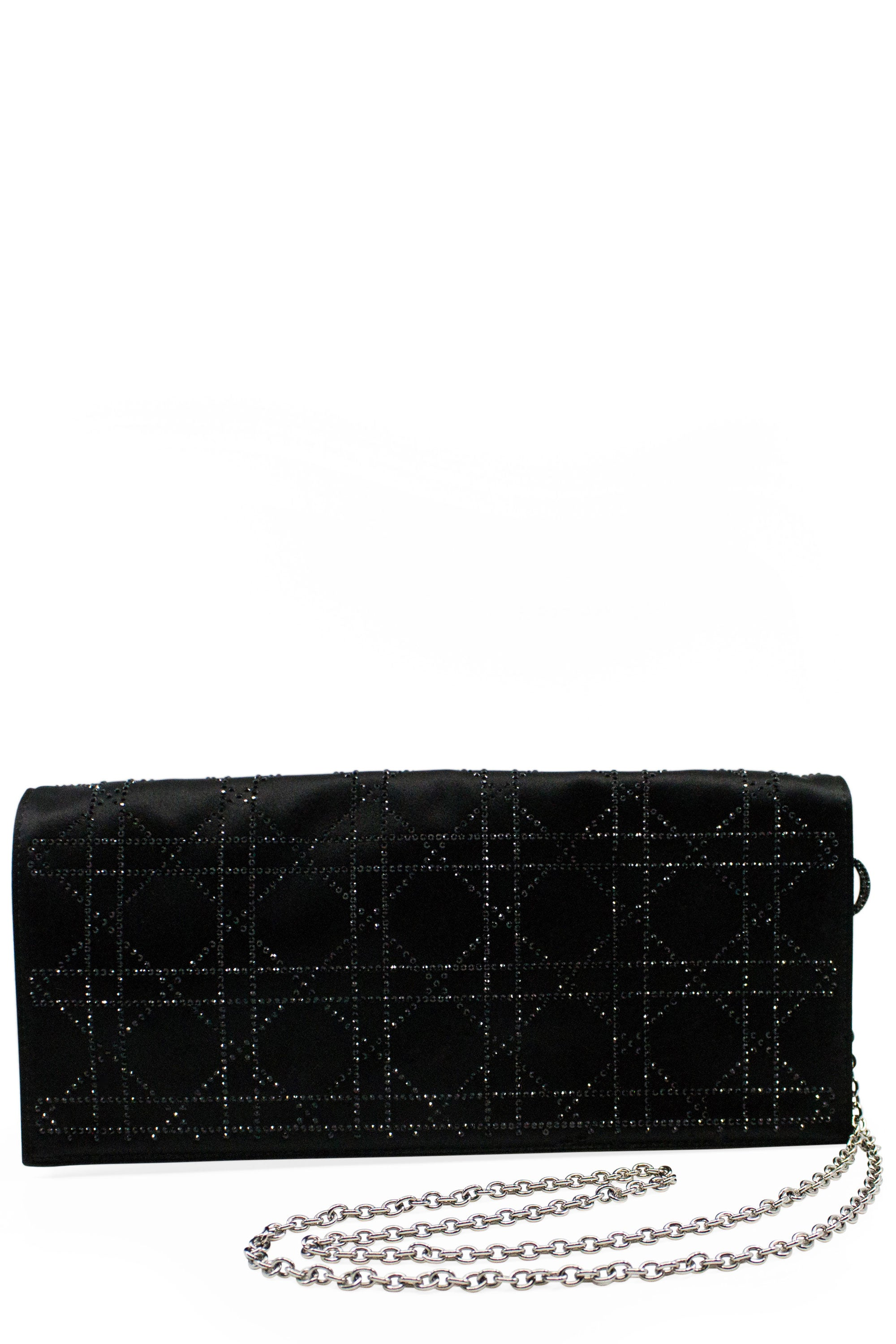 CHRISTIAN DIOR Cannage Satin Crystal Evening Clutch Frontansicht