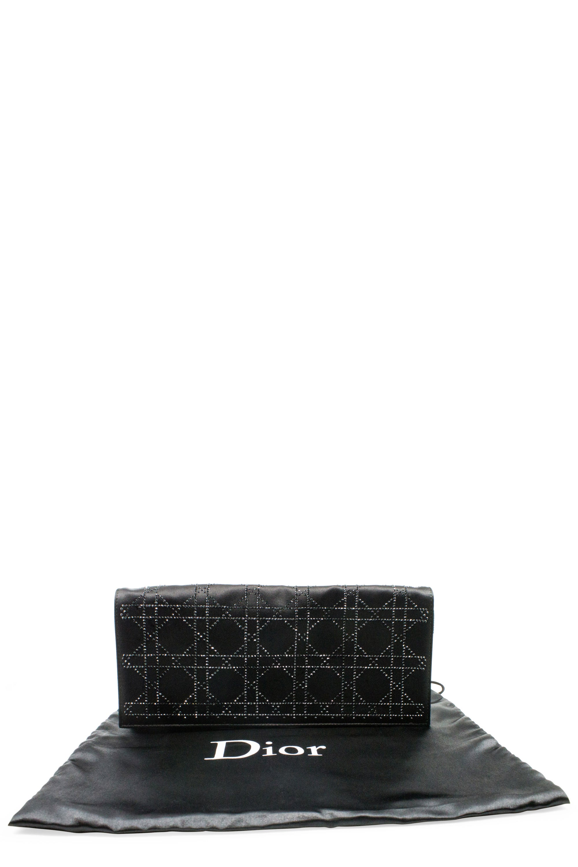 CHRISTIAN DIOR Cannage Satin Crystal Evening Clutch