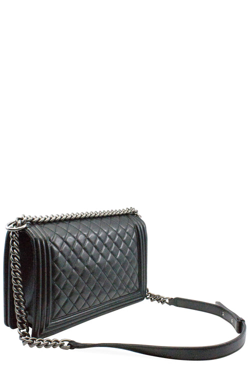CHANEL Boy Bag Medium Black & Silver
