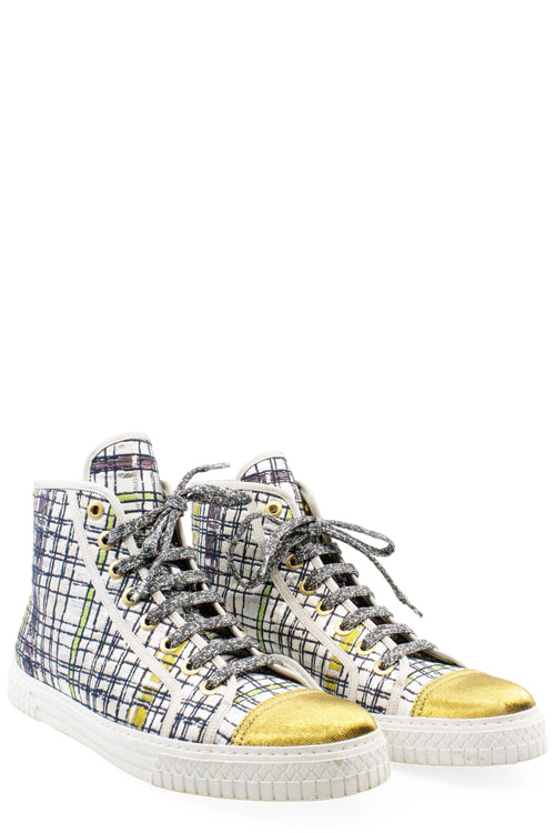 CHANEL Sneakers White Gold Tweed Print