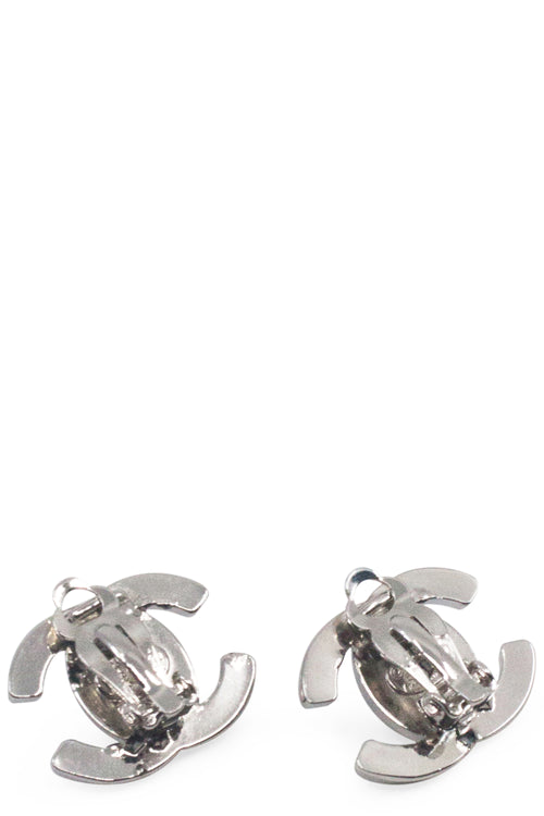 CHANEL Clip CC Silver Earrings