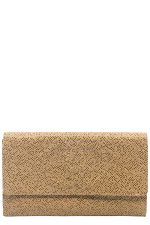 CHANEL Portemonnaie Camel Caviar Leather Frontansicht