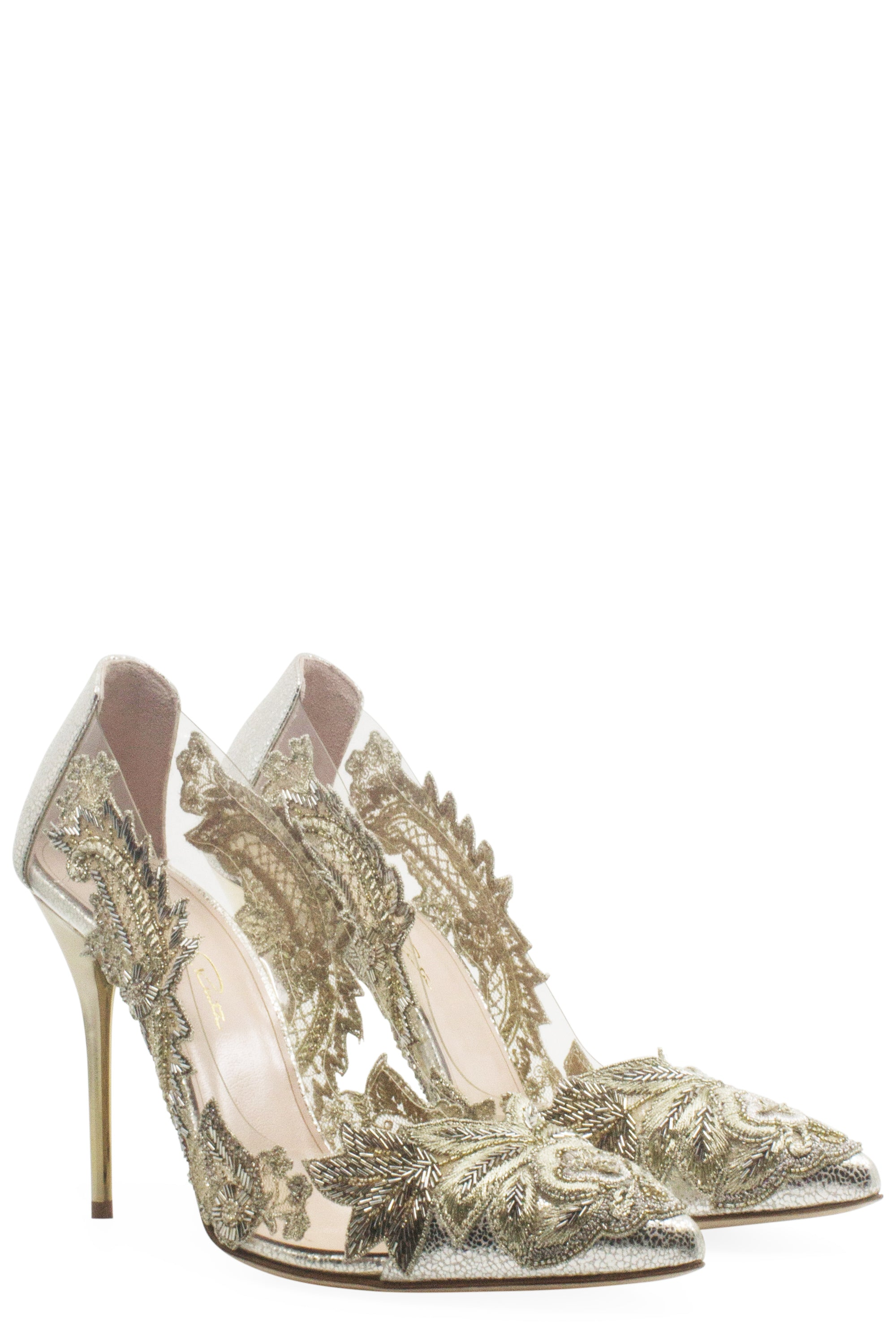 Oscar de la Renta Alyssa Embellished Transparent Pumps