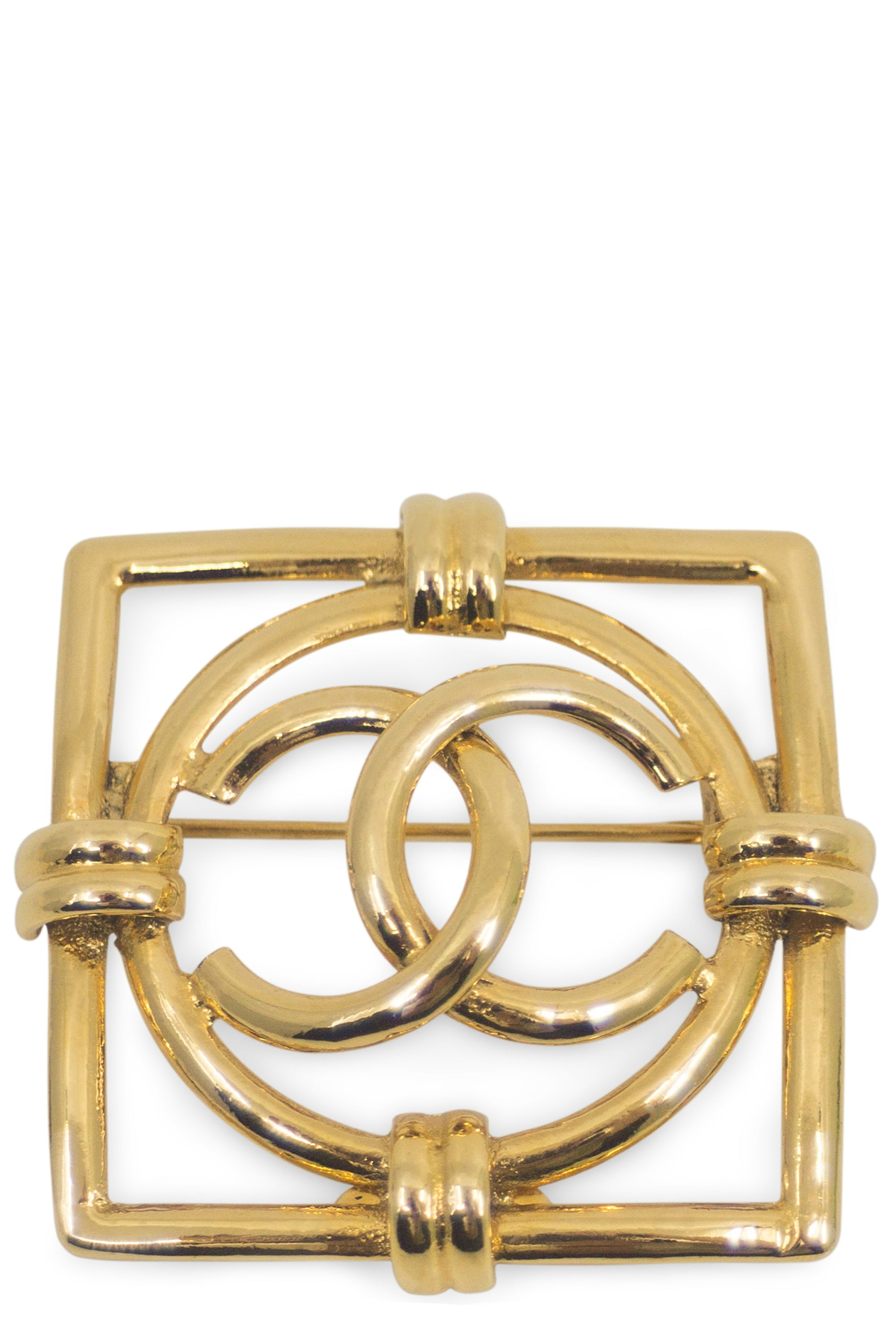 CHANEL Brooch Square Gold