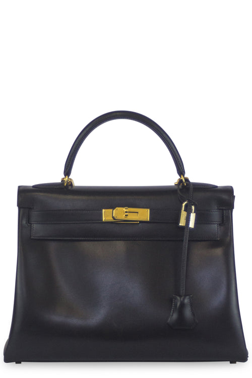 HERMÈS Kelly Retourné 32 Box Leather Black Frontansicht