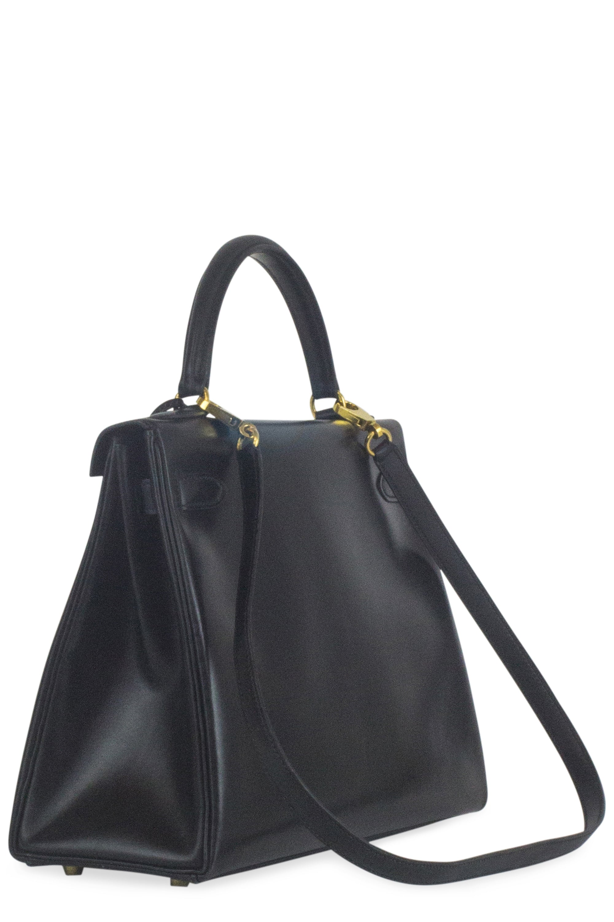 HERMÈS Kelly Retourné 32 Box Leather Black