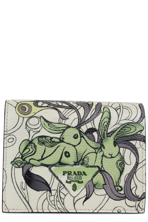 PRADA Glace Rabbit Printed Leather Wallet